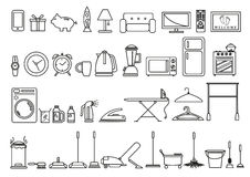 Set of Home and Lifestyle Tools and Objects in Outline Art Style. Editable Clip Art. Outline art of different household tools at home Royalty Free Stock Image