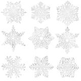 Set of home-made paper snowflakes. Royalty Free Stock Photos