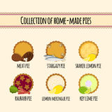 Set of home made pies royalty free illustration