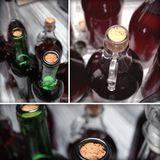 Set of home made wine bottles details Royalty Free Stock Images