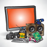 Set home media technology on a white background Stock Image