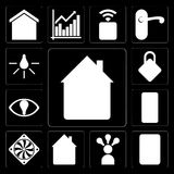 Set of Home, Plug, Smart, Cooler, Mobile, Locking, Light, editable icon pack stock illustration