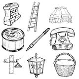 Set of home related illustration Royalty Free Stock Photography