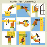 Set of home remodeling. Repair their own hands. Stock Image
