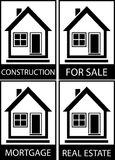 Set home for sale, construction and mortgage Royalty Free Stock Images