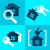 Set of home sale rent simple icons vector illustration.  Stock Photography