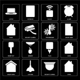 Set of Home, Security camera, Smart home, Plug, key, Temperature. Set Of 16 icons such as Home, Security camera, Lighting, Smart home, Laptop, key, Temperature stock illustration