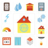 Set of Home, Sensor, Window, Fire alarm, Meter, Temperature, Pow royalty free illustration