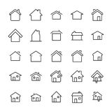 Set of 25 home thin line icons. High quality pictograms of house. Modern outline style icons collection. Building, estate, cottage, structure, etc Royalty Free Stock Image