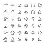 Set of 36 home thin line icons. High quality pictograms of house. Modern outline style icons collection. Building, estate, cottage, structure, etc Royalty Free Stock Photos