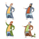 Set of homeless people Stock Image