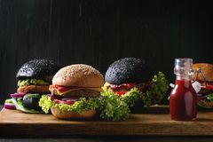 Variety of homemade burgers Royalty Free Stock Image