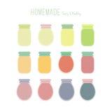 Set of homemade jam jars Royalty Free Stock Images