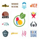 Set of homeopathy, book store, pregnancy, gamer, police badge, revolver, truck company, chili pepper, mars icons. Set Of 13 simple  icons such as homeopathy Stock Images