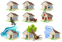 Set homes misfortune. House insurance. Property insurance Stock Photo