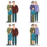 Set homosexual family Stock Photo