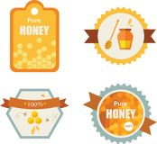 Set of honey and bee labels. product icons Royalty Free Stock Photo