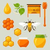 Set of honey and bee objects Royalty Free Stock Photography