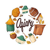 Set of honey elements. Apiary icons for your design. Vector sketches, sweet natural food Royalty Free Stock Image