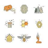 Set of Honey Icons Royalty Free Stock Photos