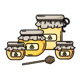 Set of honey jars web icon. Honey logo. Vector illustration in flat style stock illustration