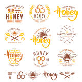 Set of honey labels, badges and design elements Royalty Free Stock Photography