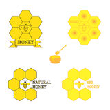 Set of honey labels Royalty Free Stock Photos