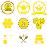 Set of honey labels Stock Images