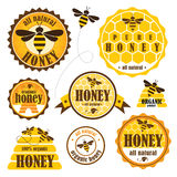 Set of honey labels Stock Photo