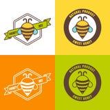 Set of honey logo, label, icon design elements. Royalty Free Stock Photos