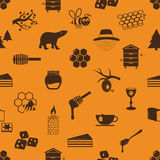 Set of honey theme icons seamless pattern Royalty Free Stock Photography