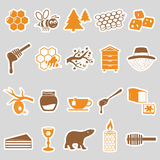 Set of honey theme stickers icons Stock Image