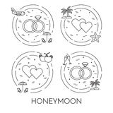 Set of honeymoon banners with wedding elements Line art. Set of honeymoon banners with wedding elements in circle. Romantic trip. Modern flat line art elements Royalty Free Stock Image