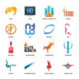 Set of honor flight, polish dancer, gastro, kicking mule, nail tech, retweet, nataraj, general contractor, rabit icons. Set Of 16 simple  icons such as honor Royalty Free Stock Image