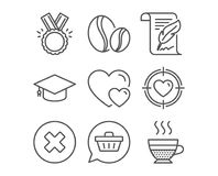 Honor, Shopping cart and Graduation cap icons. Hearts, Valentine target and Close button signs. Set of Honor, Shopping cart and Graduation cap icons. Hearts Stock Photography