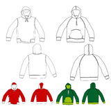 Set of hooded shirts. Easily adjustable in lines and color Stock Photos