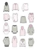 Set of hoodies for girls Stock Photography