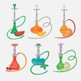Set of hookah icons. Labels for nargile shop or shishe lounge. Fruit flavor of tabacco Royalty Free Stock Images