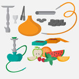 Set of hookah icons. Waterpipes, charcoal and accessories. Labels for shishe shop or nargile lounge, Fruit flavor of tabacco. Set of hookah icons. Waterpipes Stock Images