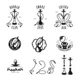 Set of hookah labels, badges and design elements. Royalty Free Stock Photos