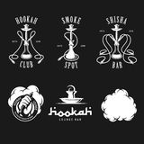 Set of hookah labels, badges and design elements. Royalty Free Stock Photo