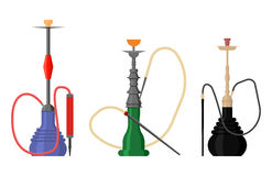Set of hookah with pipe for tobacco smoke Royalty Free Stock Photos
