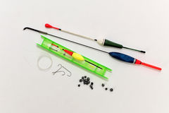 The set of hooks, sinkers and fishing line Royalty Free Stock Photography