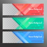 Set of horizon abstract colorful display banner background with. Copy space stock illustration