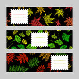 Set of horizontal autumn banners. Harvest berry ornament. Vector Illustration. Set of horizontal autumn banners. Leaf ornaments. Scratched ginkgo, momiji and Stock Images