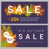 Set horizontal autumn sale banners. Set of bright horizontal banners with autumn leaves for seasonal sale on autumn background Stock Image