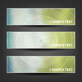 Set of Horizontal Banner or Cover Background Designs - Green, Blue Colors. Collection of Three Colorful Abstract Bright Horizontal Header and Banner Design with Royalty Free Stock Images
