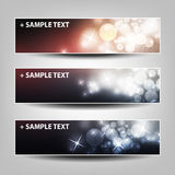 Set of Horizontal Banner or Header Background Designs - Colors: Black, Pink, White - For Party, Christmas, New Year Holidays Stock Images
