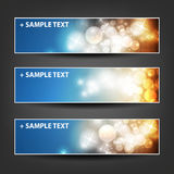 Set of Horizontal Banner or Header Background Designs - Colors: Blue, Brown, White - For Party, Christmas, New Year Stock Images