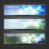 Set of Horizontal Banner or Header Background Designs - Colors: Blue, Green, White - For Party, Christmas, New Year Stock Images